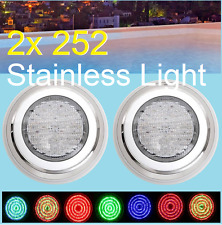 New Design 2x Stainless Steel Swimming Pool Spa Wall 252 LED Lights RGB7 Colour