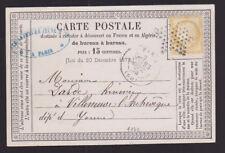 France 1874 Postcard cover Lefebvre Jeune & Co Paris & Algerie to Villeneuve