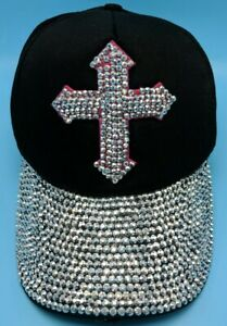 Black / Silver sequined cross hat black adjustable cap with sequined brim