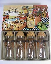 VINTAGE PAUL MASSON MINI CARAFE GLASS SPICE JARS BOTTLES W/CORKS + WOOD RACK