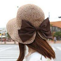 New Bow-knot UV Protection Sun Hat Wide Brim Floppy Women Beach Panama Straw Hat