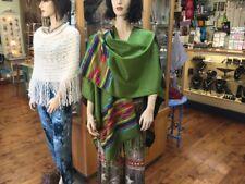 Green And Black Reversible Handmade Poncho Ruana Shawl Long Wrap Cape