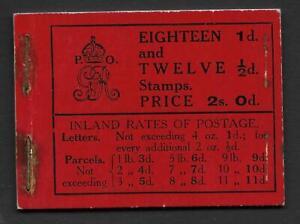 GREAT BRITAIN -  GEORGE V Booklets: 1912 (September) 2s0d black on red - 19346