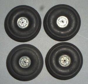 """(4)PERFECT PARTS MODEL AIRPLANE RUBBER BALLOON TIRES #64 WHEELS 1-1/2"""" JAPAN"""