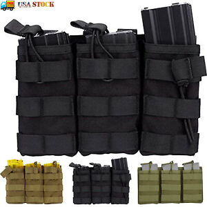 Tactical Molle Triple Magazine Pouch Nylon Open Top 5.56 .223 Rifle Mag Holder