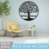 24in/60cm Metal Tree Hanging Wall Art Round Sculpture Family Forever Home Decor