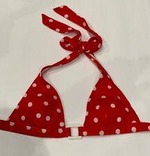 H&M Swim Red White Polka Dot Lightly Padded Halter Square Buckle bikini Top 34 4