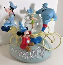 Disney 25th Anniversary Mickey Mouse Genie Goofy Tinkerbell Coach Snowglobe