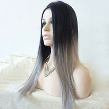 Women Long Straight Wig Hair Heat Resistant Black and Grey Ombre Wigs
