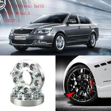 "4pcs 1"" Wheel Spacers Adapters 5 Lug 5x4.4""/5x112-14x1.5 Studs For Skoda Octavia"