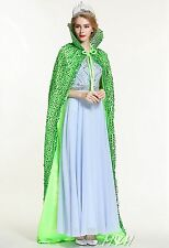 """Sequin Satin Wedding Cloak Cape 71"""" Lotus Collar Pageant Cosplay Party Costumes"""