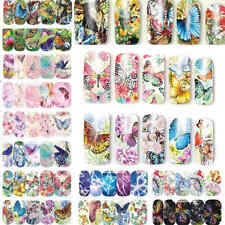 12Style Butterfly Nail Art Water Transfer Sticker Decal Full Wraps Tips Manicure