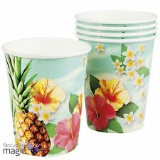 *Set Of 6 Hawaiian Tropical Pineapple Lei Partyware Party Tableware Paper Cups*