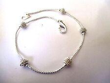 bracelet bijou vintage couleur argent perle déco poli brillant 4444
