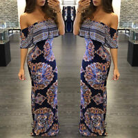 Women Off Shoulder Strapless Ruffles Floral Evening Party Casual Long Maxi Dress
