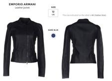 NWT Emporio Armani lamb leather Jacket in dark blue IT46