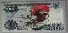 1992 Indonesia 20,000rp Cenderawasih Merah Banknote  vF++