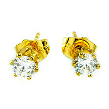 GOLD PLATED EARRINGS ROUND WHITE CUBIC ZIRCONIA 4 M 24K YELLOW GOLD GP BAHT