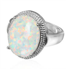 Size 6/7/8/9 Chunky Big Oval White Fire Opal Wedding Ring Silver Plated Jewelry