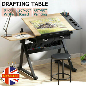 Adjustable Drafting Table Art Craft Drawing Desk w/ Stool Drawer Architect Stand