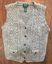 LAUREN Ralph Lauren M 100% Wool Hand Knit Sweater Vest Gray Marl Chunky Tie Back