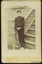 NINE YEAR OLD BOY STANDING ON STEPS Vintage Picture Photo Photograph