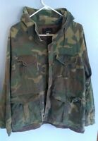 Vintage Black Sheep Woodland Camo Hooded Jacket Coat Sz Large L Hunting