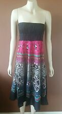 BOHO GYPSY SKIRT TUBE DRESS MAXI HOLIDAY PINK SMOCK ELASTIC RAYON
