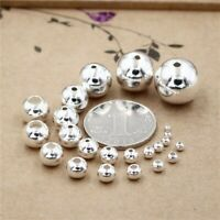 100pcs S925 Sterling Silver Bracelets Round Beads with Holes Jewelry Accessories