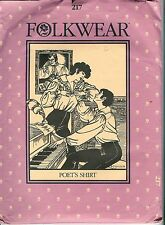 Folkwear Poet's Shirt Vintage Heavy Paper Pattern #217  Uncut S-M-L Sizes