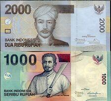 INDONESIA SET 2 PCS 1000 2000 RUPIAH 2013 ( 2000 / 2009 ) UNC
