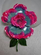 XL  Vintage Original by Robert Sunny Pink & Blue Enamel Flower Pin Brooch