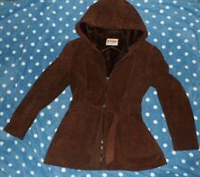 Genuine BORG Fabric Textiles CANADA Brown Faux Leather HEAVY HOODIE COAT Jrs M