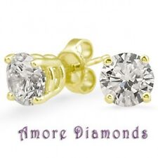 1 ct H VS2 round excellent ideal cut diamond solitaire earrings 18k yellow gold