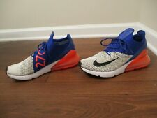 Used Worn Size 10 Nike Air Max 270 Flyknit Shoes White Racer Blue Crimson Black