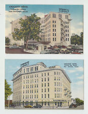 San Antonio Texas Postcards, 2, Crockett Hotel, 40's & 50's Cars, Linen Cards