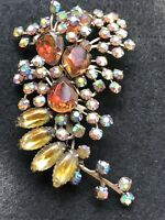 Beau Jewel Peacock AB Gold Givre Orange Rhinestone Large Vintage Brooch Pin WOW!