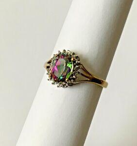 Vintage 9ct 375 Solid Gold Mystic Topaz & Diamond Ladies Dress Ring Size - O 1/2