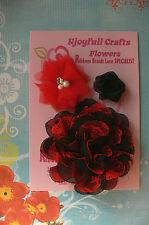 RED & BLACK Fabric Satin Organza & Lace 3 Flower Pack 30-100mm Njoyfull Crafts Z