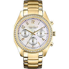 Caravelle New York Women's 44L114 Chronograph Crystals Gold Tone Bracelet Watch