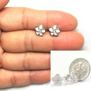 Lovely 8.5mm Sterling Silver 925 Hawaiian Plumeria Flower Stud Earrings TPJ