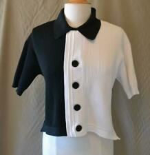Simon Miller Black & White S/S Ribbed Cropped Sweater Size 2