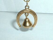 VINTAGE 14K YELLOW GOLD MOVEABLE BELL HORSESHOE CHARM
