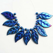 9pcs Hematite Carved Leaf Pendant Bead Set G0019336