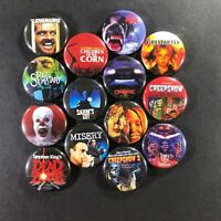 "Stephen King Movies 1"" Button Pin Set Horror Classic Shining Pet Sematary It"