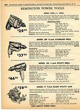 1960 Print Ad of Remington Power Tools Model 149DL 389 128 Drill & 71 Saw