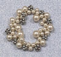 Faux Pearl Chunky Stretch Bracelet * Unique Design w/ Rhinestone Beaded Accents