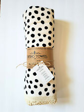 Tofino Beach Towel, The Mathea Cream & Black Polka Dot Velour,  New