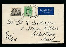 AUSTRALIA 1935 PLATYPUS +AIRMAIL ETIQUETTE TIED SHIP MAIL ROOM PMK to FOLKESTONE