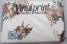 "NEW NOS Vinylprint Flannelbacked 60"" Round Tablecloth Vintage Mushroom Print"
